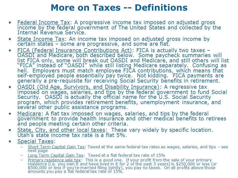 More on Federal Taxes –e.g.
