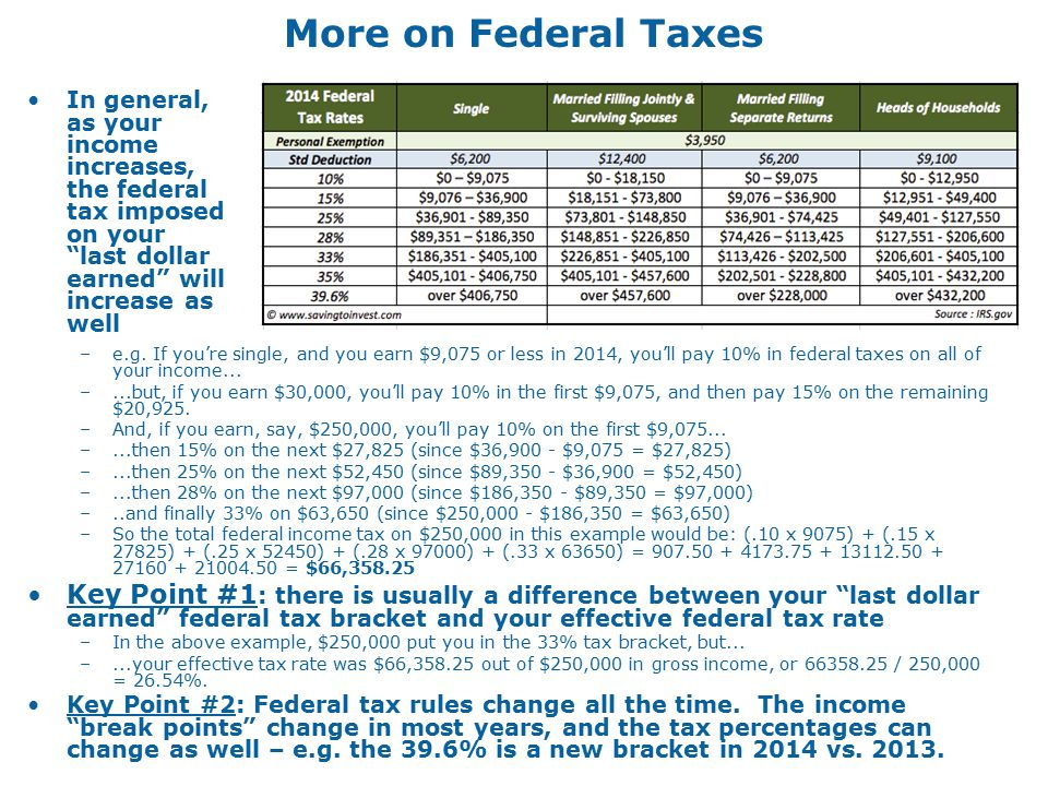 More on Federal Taxes –e.g.