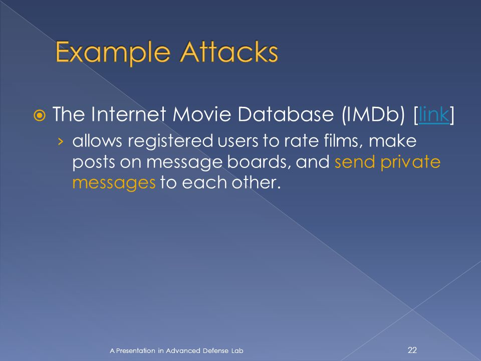  The Internet Movie Database (IMDb) [link]link › allows registered users to rate films, make posts on message boards, and send private messages to ea