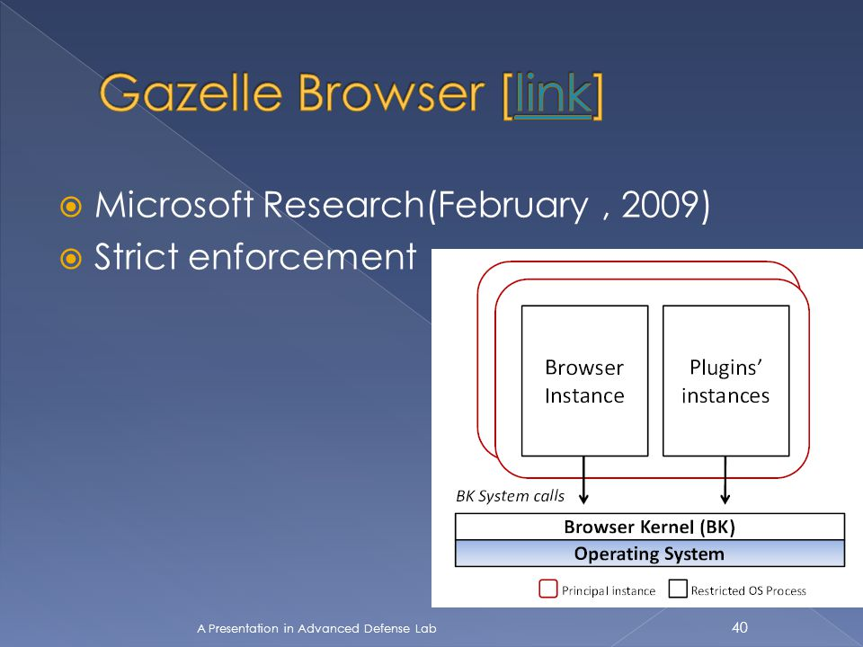  Microsoft Research(February, 2009)  Strict enforcement A Presentation in Advanced Defense Lab 40
