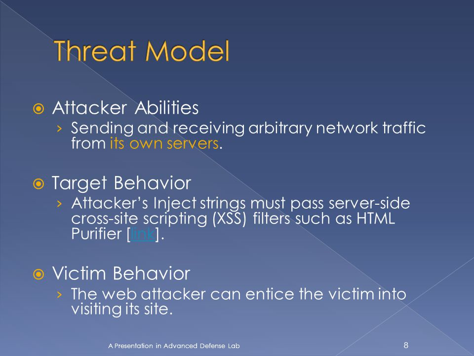  Attacker Abilities › Sending and receiving arbitrary network traffic from its own servers.  Target Behavior › Attacker's Inject strings must pass s