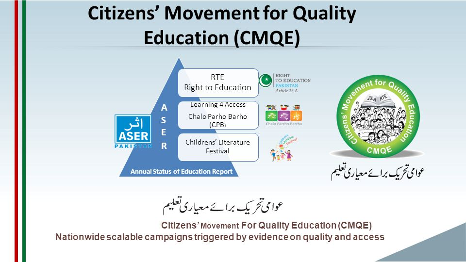 Citizens' Movement for Quality Education (CMQE) Citizens' Movement For Quality Education (CMQE) Nationwide scalable campaigns triggered by evidence on quality and access RTE Right to Education Learning 4 Access Chalo Parho Barho (CPB ) Childrens' Literature Festival A S E R Annual Status of Education Report