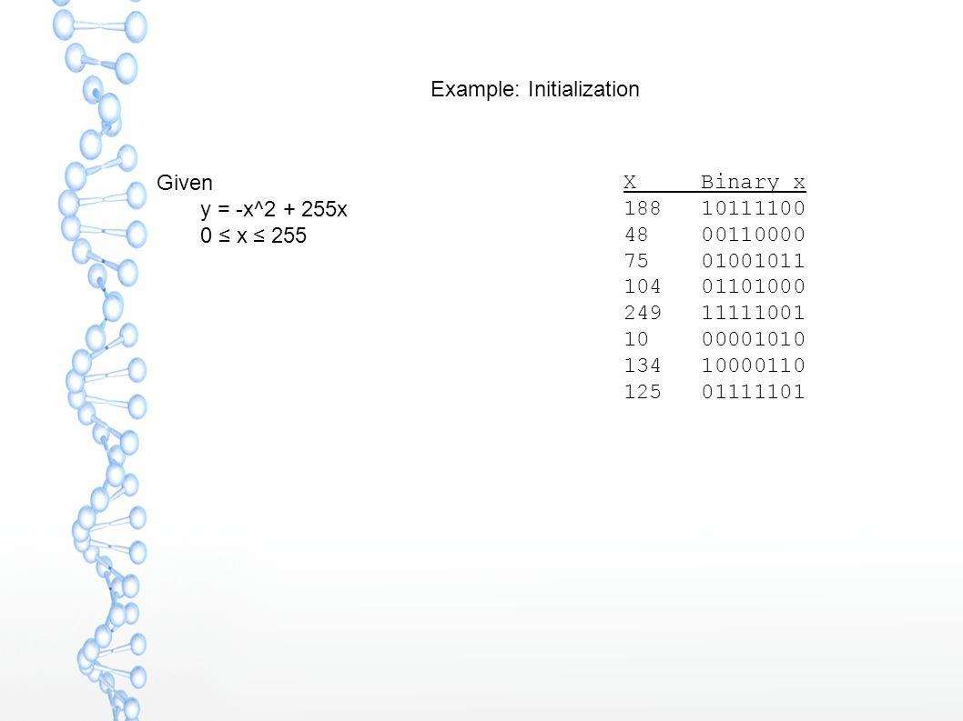Example: Initialization Given  y = -x^2 + 255x  0 ≤ x ≤ 255 X Binary x 188 10111100 48 00110000 75 01001011 104 01101000 249 11111001 10 00001010 134 10000110 125 01111101