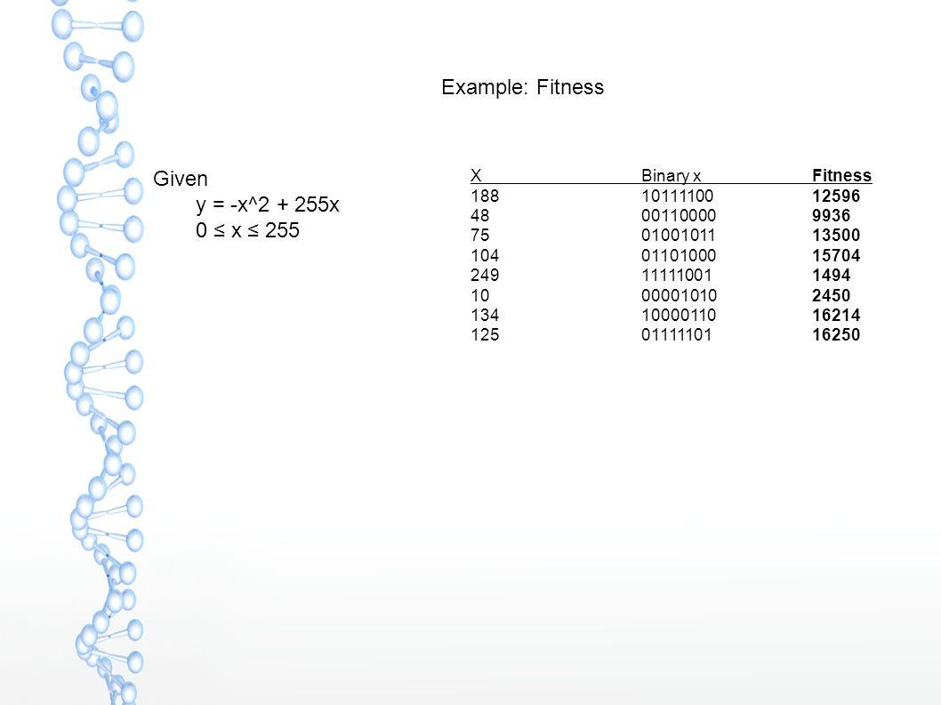 Example: Fitness Given  y = -x^2 + 255x  0 ≤ x ≤ 255 X Binary xFitness 188 10111100 12596 48 00110000 9936 75 01001011 13500 10401101000 15704 24911111001 1494 1000001010 2450 13410000110 16214 12501111101 16250