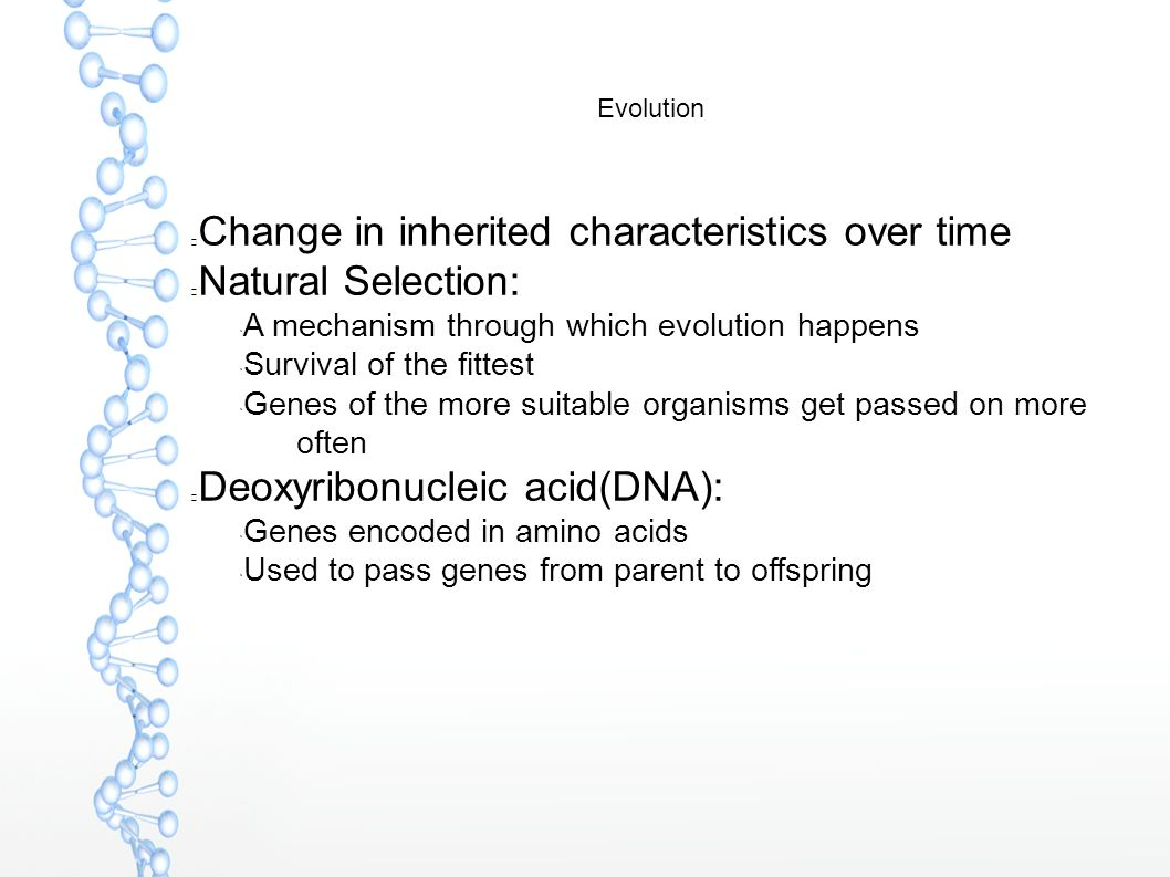 Evolution Change in inherited characteristics over time Natural Selection:  A mechanism through which evolution happens  Survival of the fittest  G