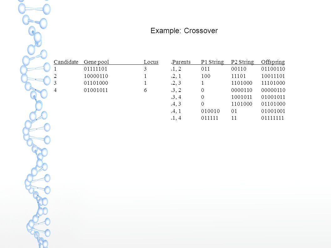 Example: Crossover CandidateGene poolLocus 101111101 3 210000110 1 301101000 1 4 01001011 6 ParentsP1 String P2 StringOffspring 1, 20110011001100110 2