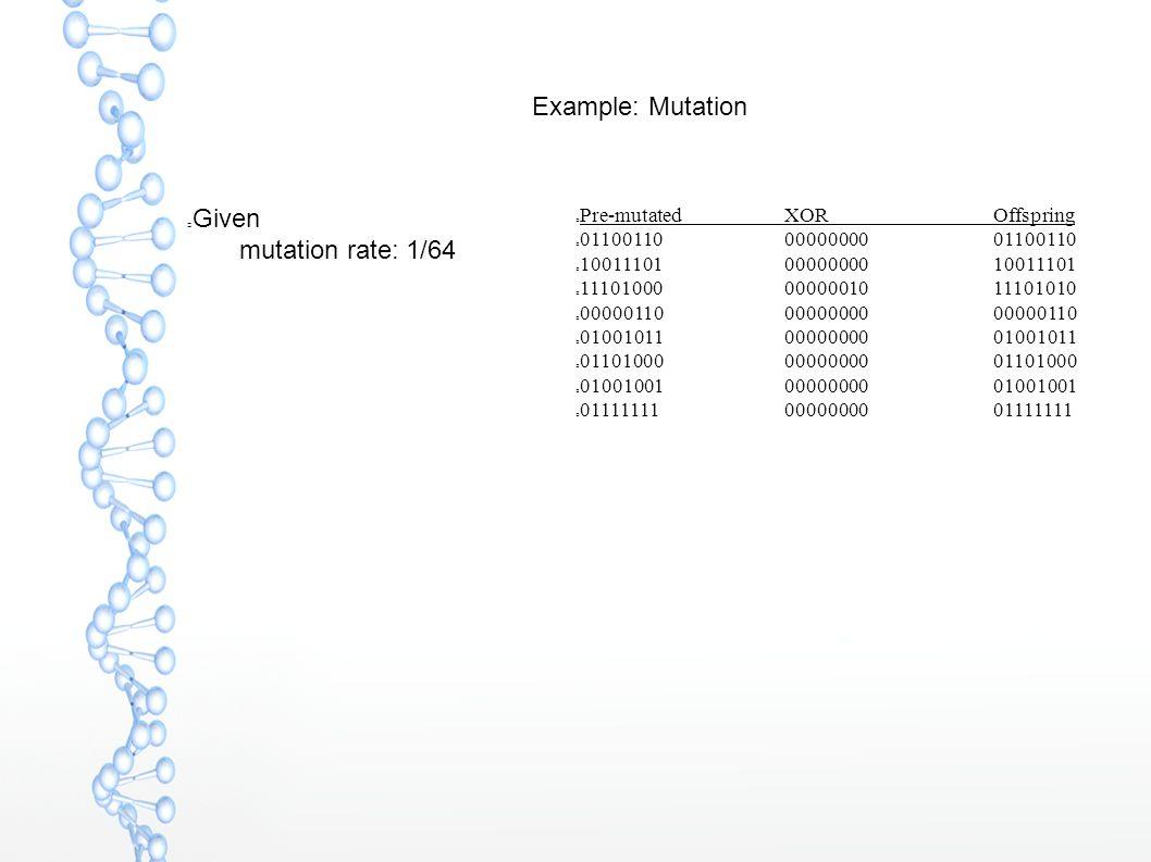 Given  mutation rate: 1/64 Example: Mutation Pre-mutatedXOROffspring 011001100000000001100110 100111010000000010011101 111010000000001011101010 0000011000000000 00000110 010010110000000001001011 011010000000000001101000 010010010000000001001001 011111110000000001111111