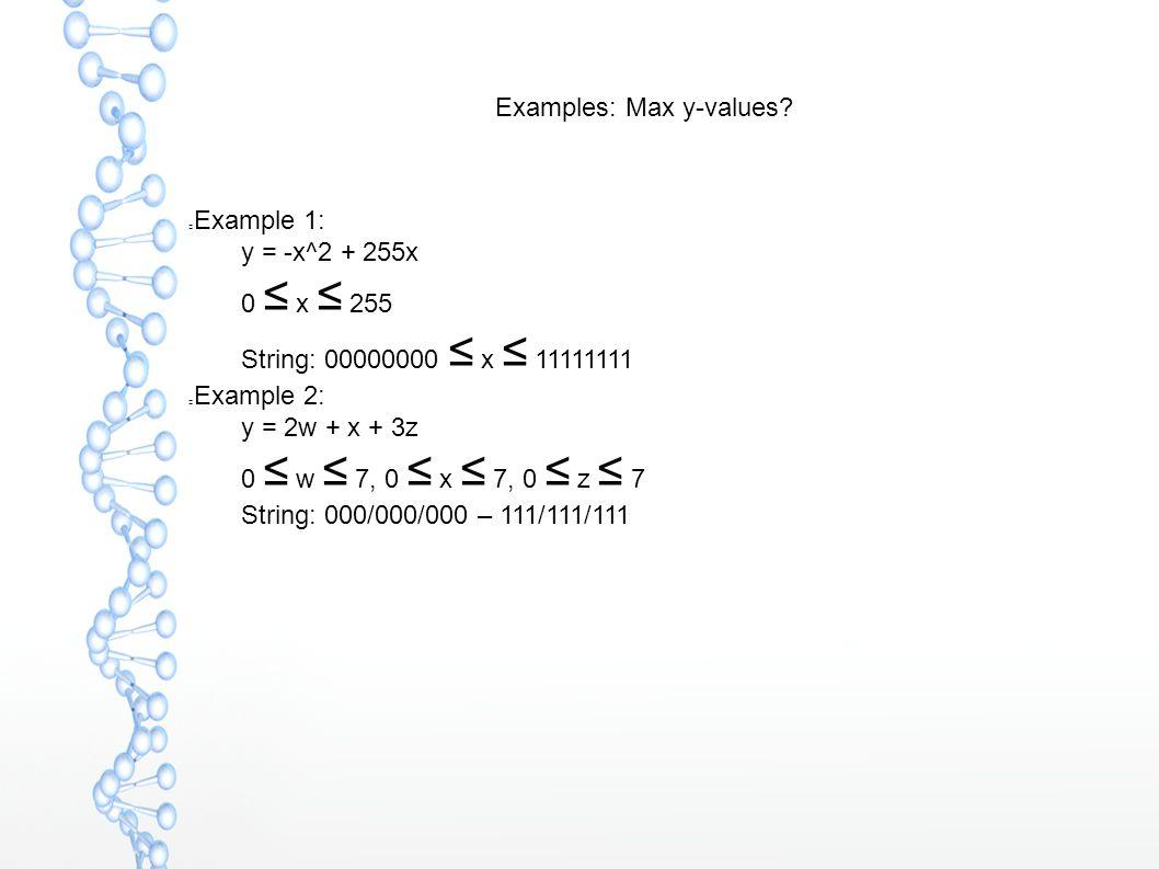Examples: Max y-values? Example 1:  y = -x^2 + 255x  0 ≤ x ≤ 255  String: 00000000 ≤ x ≤ 11111111 Example 2:  y = 2w + x + 3z  0 ≤ w ≤ 7, 0 ≤ x ≤