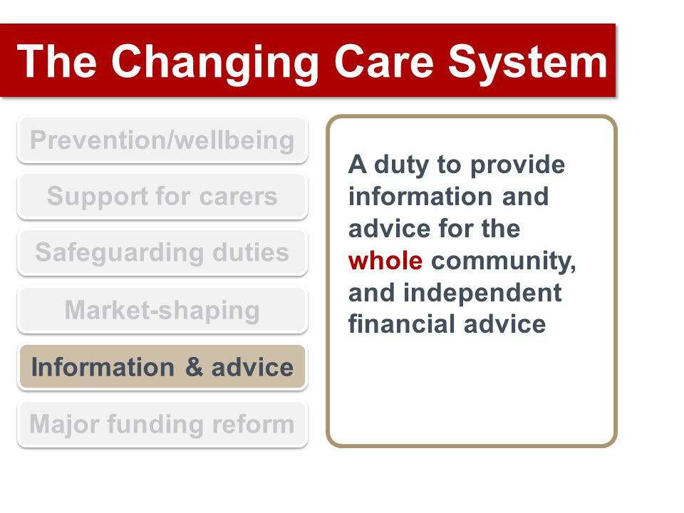 The Changing Care System Prevention/wellbeing Support for carers Safeguarding duties Market-shaping Information & advice Major funding reform A duty to provide information and advice for the whole community, and independent financial advice