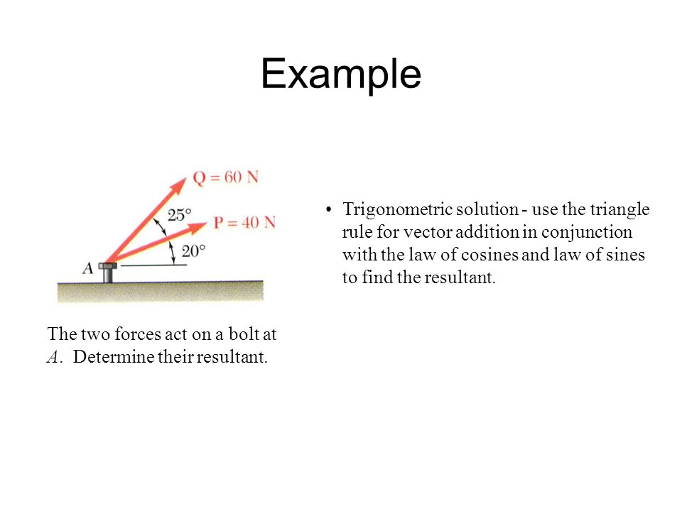 Example The two forces act on a bolt at A. Determine their resultant.