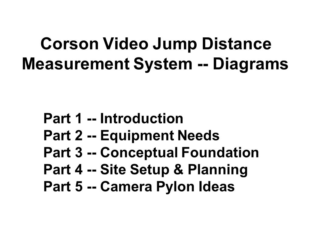 Part 1 -- Introduction Part 2 -- Equipment Needs Part 3 -- Conceptual Foundation Part 4 -- Site Setup & Planning Part 5 -- Camera Pylon Ideas Corson Video Jump Distance Measurement System -- Diagrams