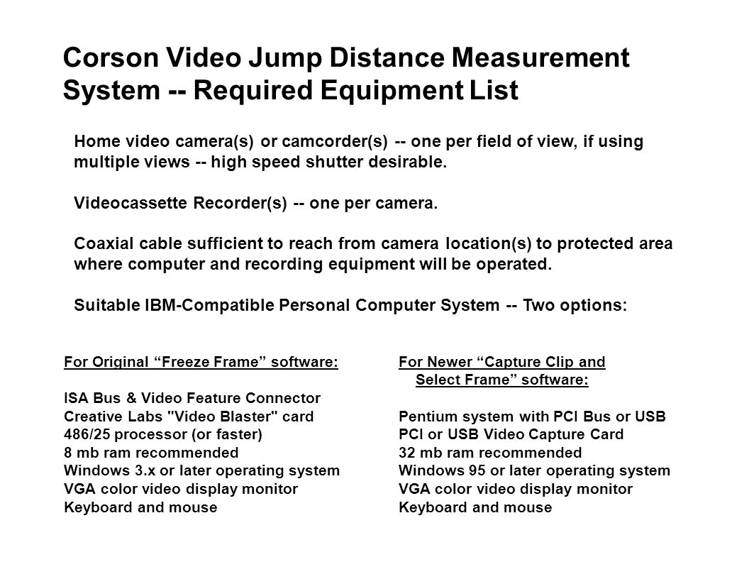 Corson Video Jump Distance Measurement System -- Required Equipment List For Original Freeze Frame software: ISA Bus & Video Feature Connector Creative Labs Video Blaster card 486/25 processor (or faster) 8 mb ram recommended Windows 3.x or later operating system VGA color video display monitor Keyboard and mouse Home video camera(s) or camcorder(s) -- one per field of view, if using multiple views -- high speed shutter desirable.
