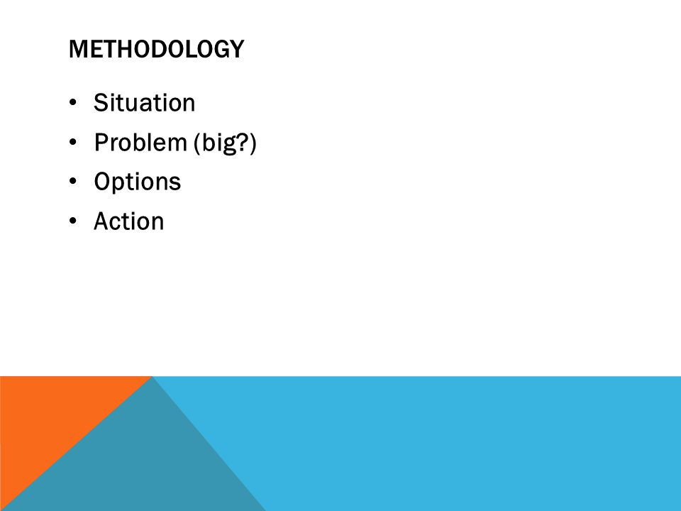METHODOLOGY Situation Problem (big ) Options Action