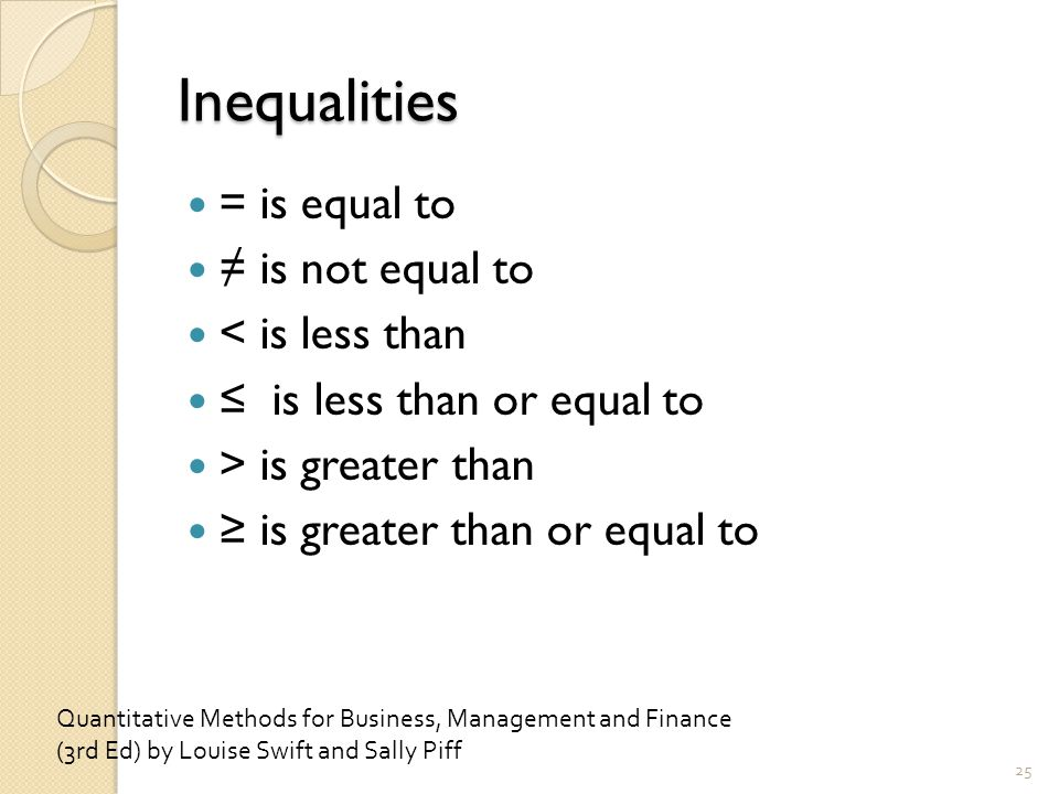 Inequalities = is equal to ≠ is not equal to < is less than ≤ is less than or equal to > is greater than ≥ is greater than or equal to 25 Quantitative Methods for Business, Management and Finance (3rd Ed) by Louise Swift and Sally Piff