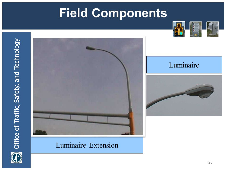 Office of Traffic, Safety, and Technology Field Components 20 Luminaire Extension Luminaire