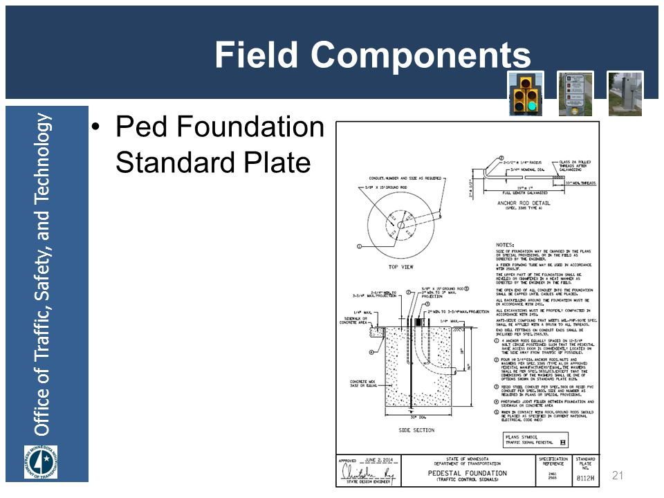 Office of Traffic, Safety, and Technology Field Components Ped Foundation Standard Plate 21