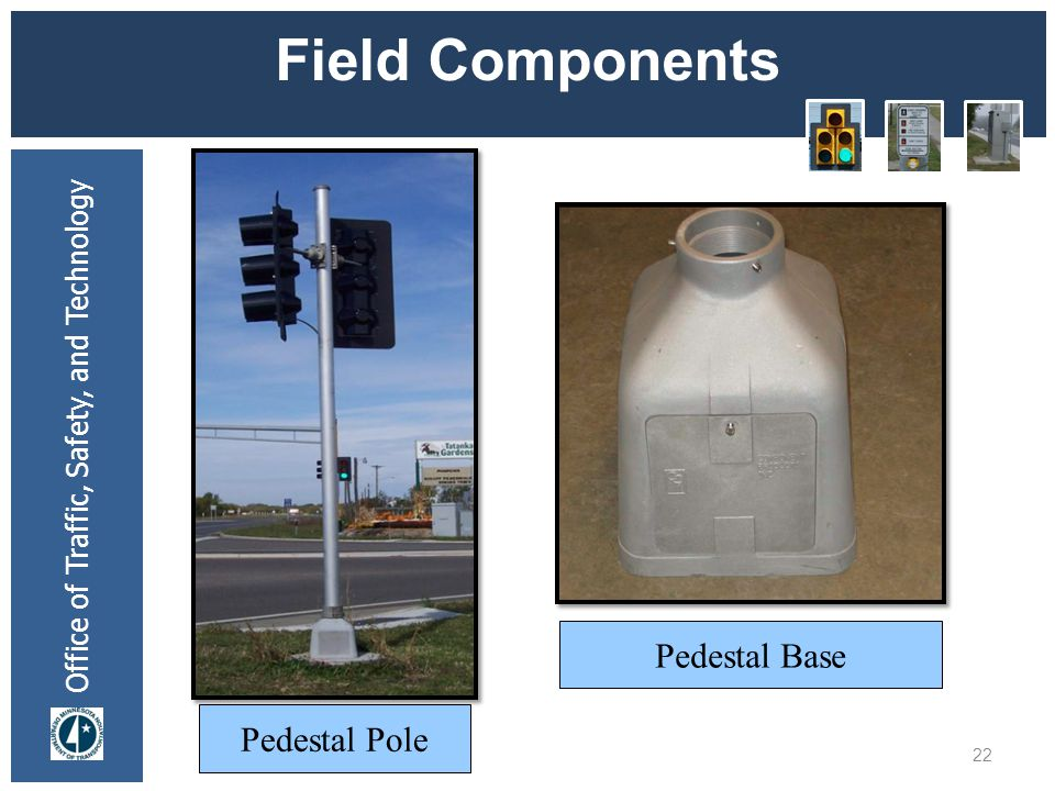 Office of Traffic, Safety, and Technology Field Components 22 Pedestal Pole Pedestal Base