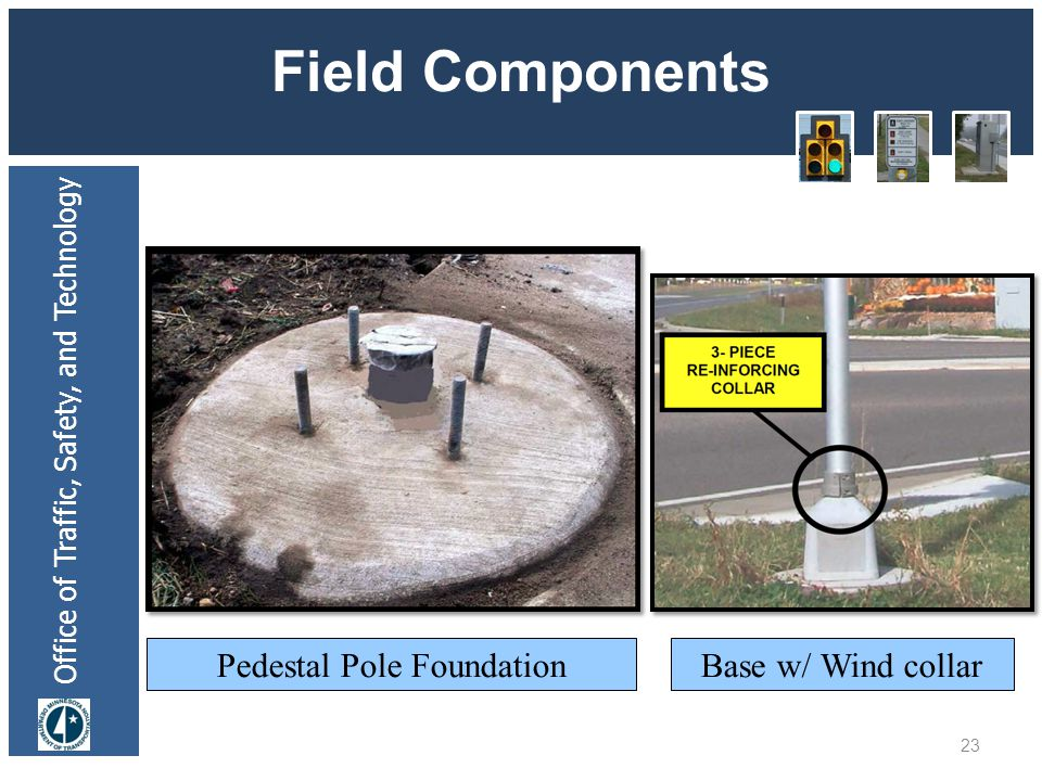 Office of Traffic, Safety, and Technology Field Components 23 Pedestal Pole FoundationBase w/ Wind collar