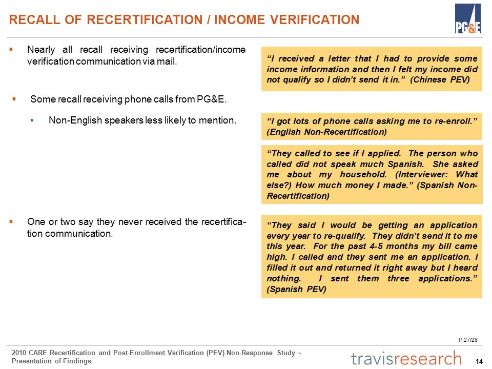 14 2010 CARE Recertification and Post-Enrollment Verification (PEV) Non-Response Study ~ Presentation of Findings RECALL OF RECERTIFICATION / INCOME VERIFICATION  Nearly all recall receiving recertification/income verification communication via mail.