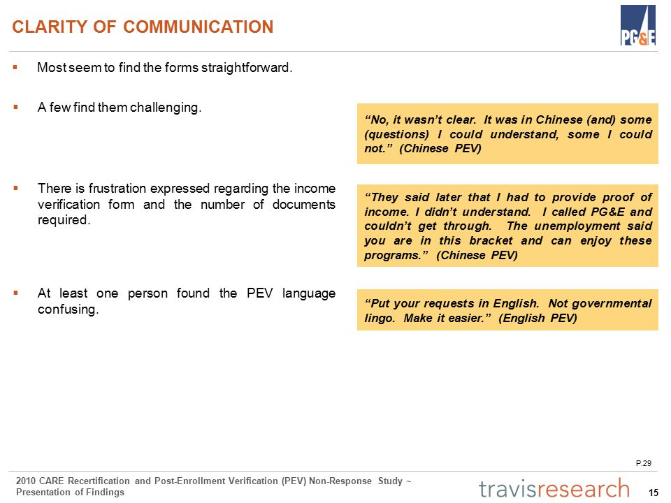 15 2010 CARE Recertification and Post-Enrollment Verification (PEV) Non-Response Study ~ Presentation of Findings CLARITY OF COMMUNICATION  Most seem to find the forms straightforward.