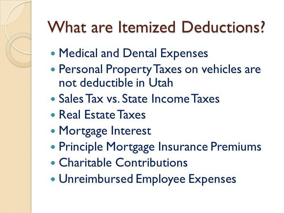 What are Itemized Deductions? Medical and Dental Expenses Personal Property Taxes on vehicles are not deductible in Utah Sales Tax vs. State Income Ta