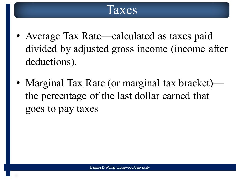 Bennie D Waller, Longwood University Taxes Average Tax Rate—calculated as taxes paid divided by adjusted gross income (income after deductions). Margi