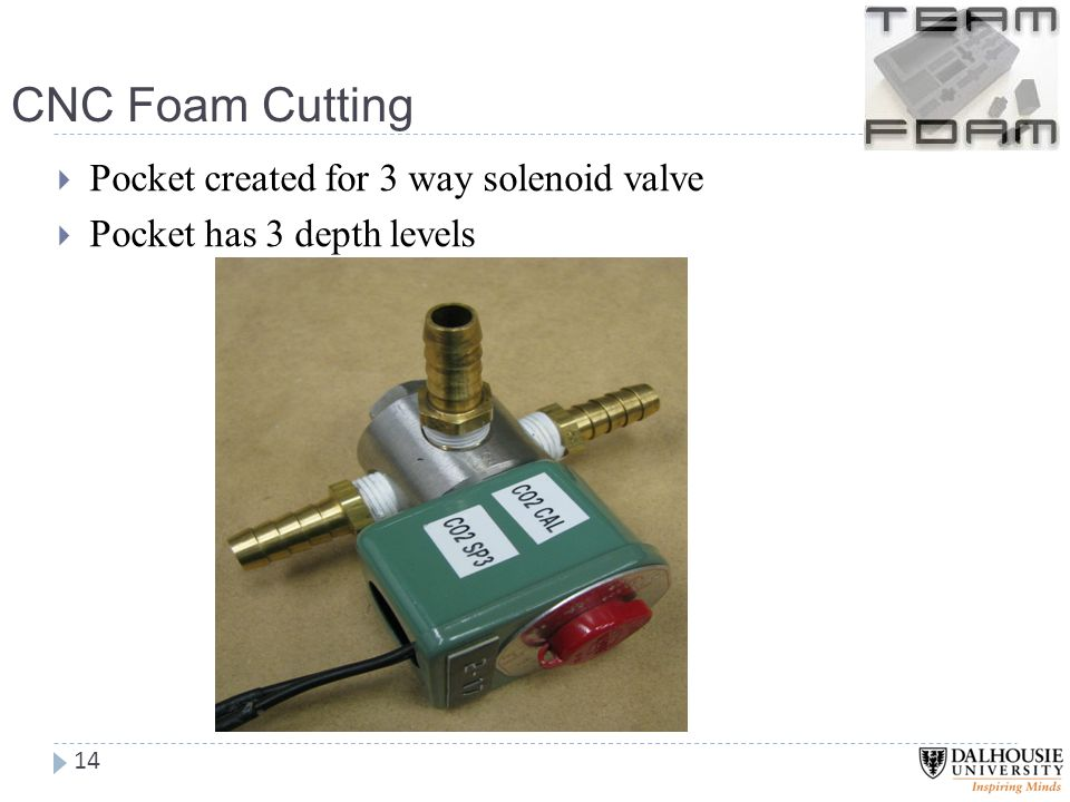 CNC Foam Cutting 14  Pocket created for 3 way solenoid valve  Pocket has 3 depth levels