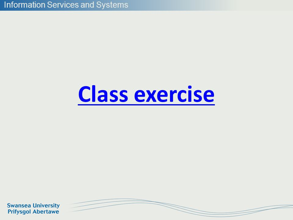 Information Services and Systems Class exercise