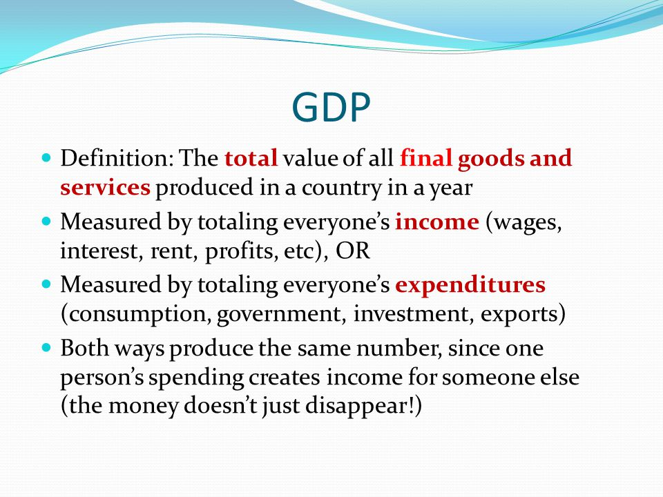 GDP Definition: The total value of all final goods and services produced in a country in a year Measured by totaling everyone's income (wages, interes