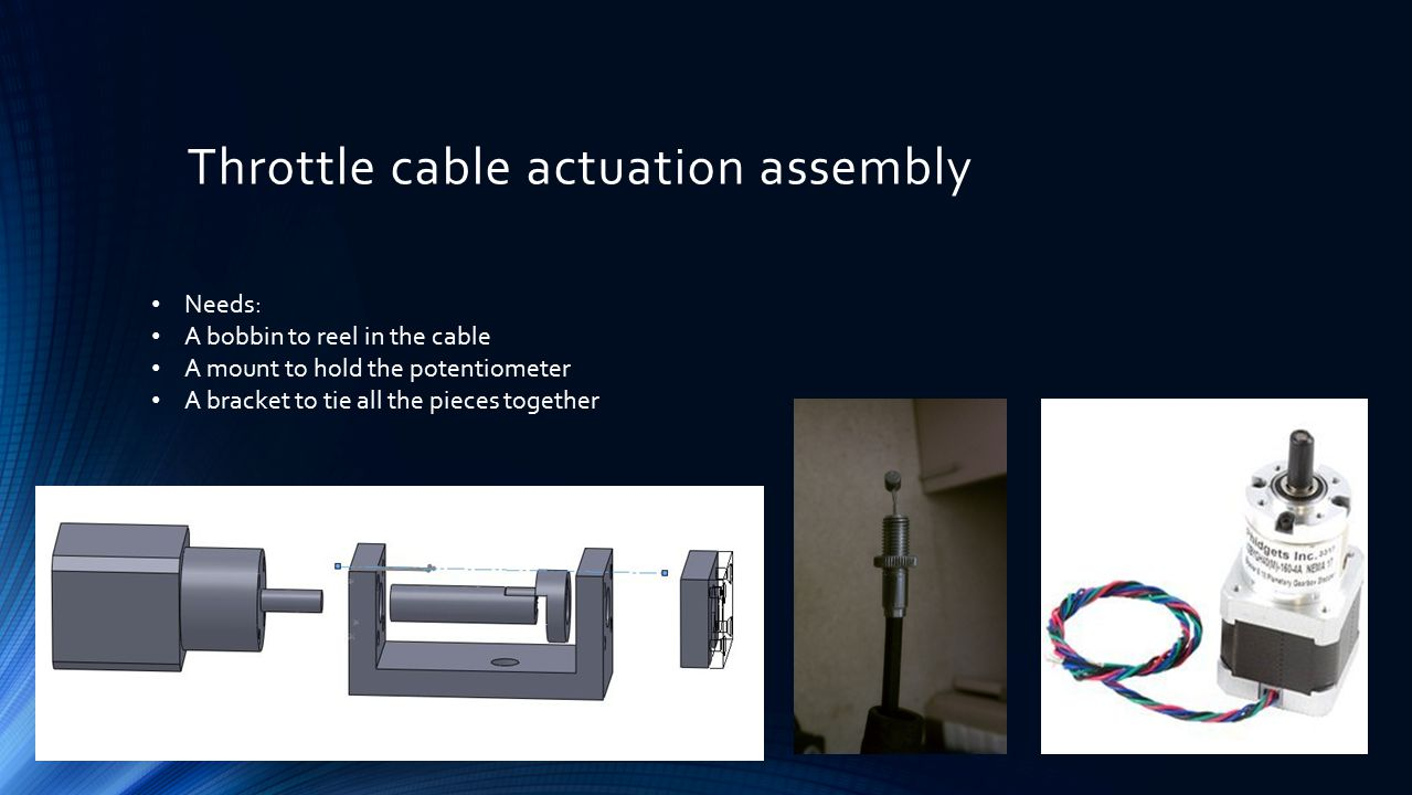 Throttle cable actuation assembly Needs: A bobbin to reel in the cable A mount to hold the potentiometer A bracket to tie all the pieces together