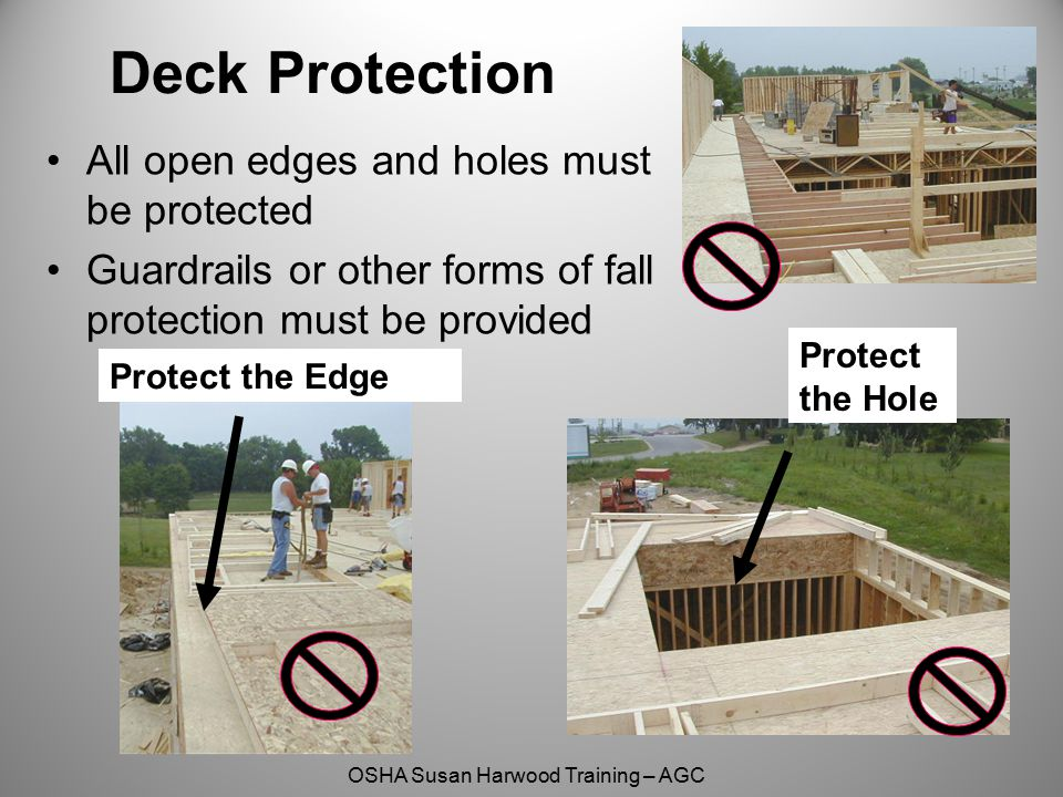 OSHA Susan Harwood Training – AGC Deck Protection All open edges and holes must be protected Guardrails or other forms of fall protection must be prov