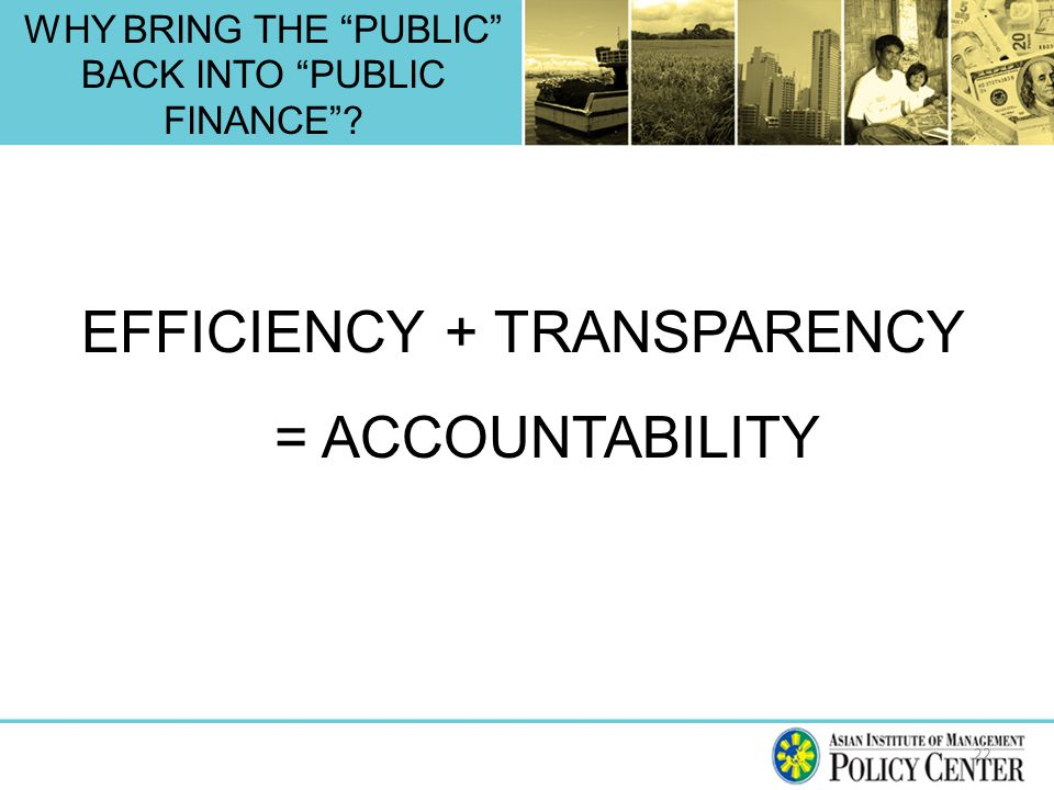 WHY BRING THE PUBLIC BACK INTO PUBLIC FINANCE 22 EFFICIENCY + TRANSPARENCY = ACCOUNTABILITY