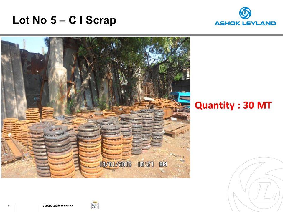 60Estate Maintenance Quantity : 40 MT Lot No 31 – Assorted Scrap