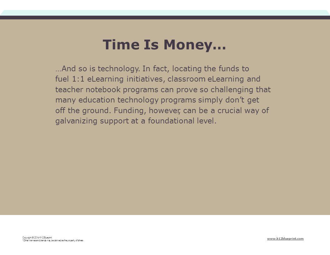 Time Is Money… Copyright © 2014 K-12 Blueprint.