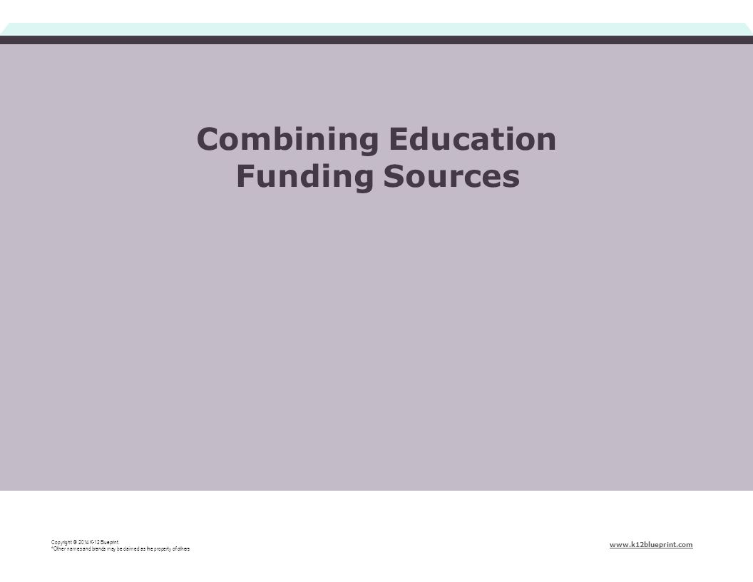 Combining Education Funding Sources Copyright © 2014 K-12 Blueprint. *Other names and brands may be claimed as the property of others www.k12blueprint