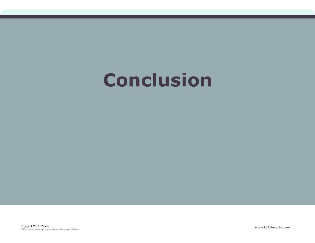Conclusion Copyright © 2014 K-12 Blueprint.