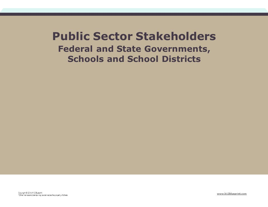 Public Sector Stakeholders Federal and State Governments, Schools and School Districts Copyright © 2014 K-12 Blueprint.