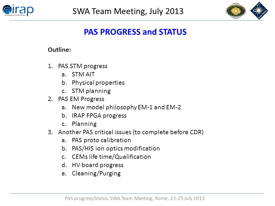 PAS progress/status.