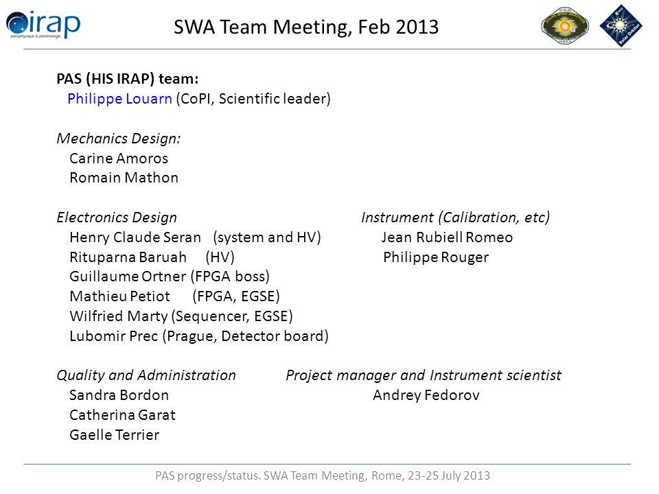 PAS progress/status.SWA Team Meeting, Rome, 23-25 July 2013 PAS/HIS alignment 4.