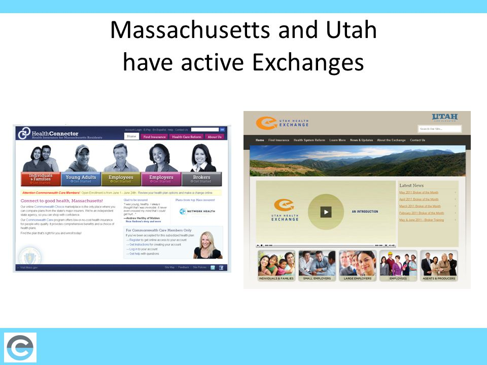 Massachusetts and Utah have active Exchanges