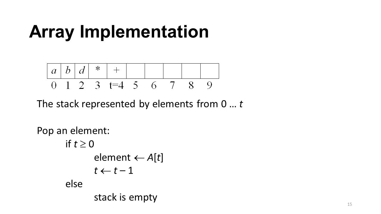 Array Implementation 15 The stack represented by elements from 0 … t Pop an element: if t  0 element  A[t] t  t – 1 else stack is empty