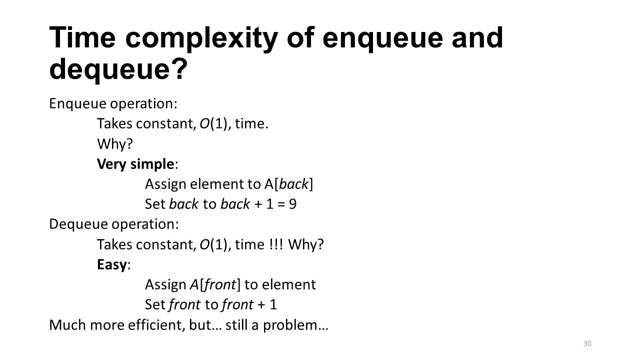 Time complexity of enqueue and dequeue? Enqueue operation: Takes constant, O(1), time. Why? Very simple: Assign element to A[back] Set back to back +