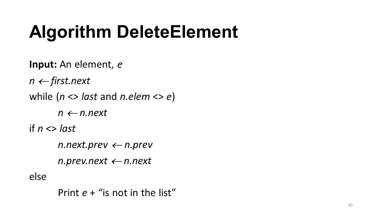 Algorithm DeleteElement Input: An element, e n  first.next while (n <> last and n.elem <> e) n  n.next if n <> last n.next.prev  n.prev n.prev.next