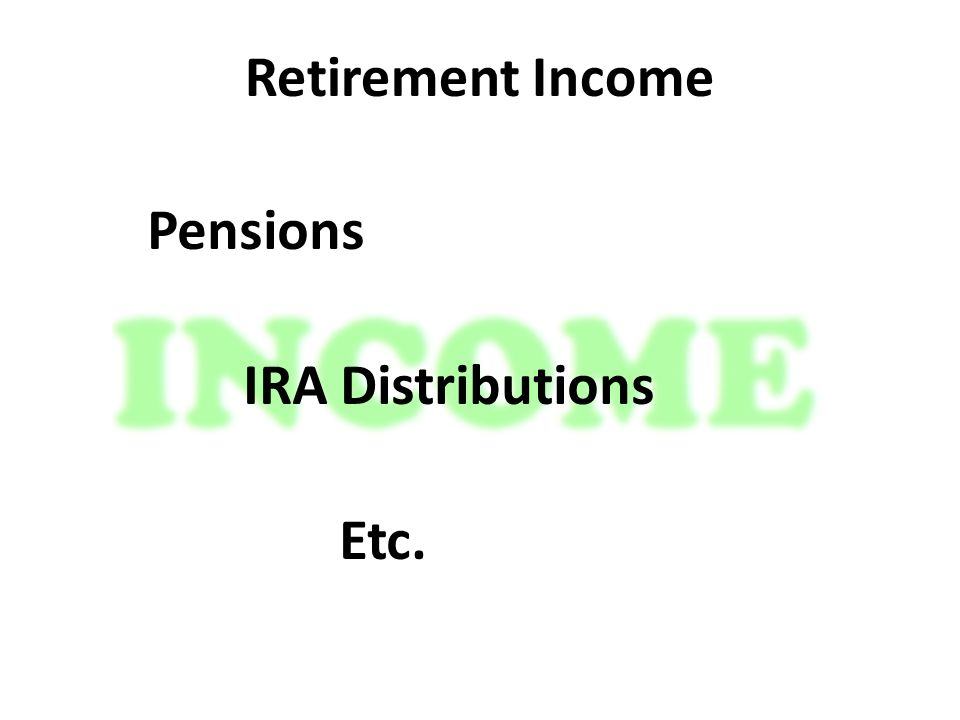 Retirement Income Pensions IRA Distributions Etc.