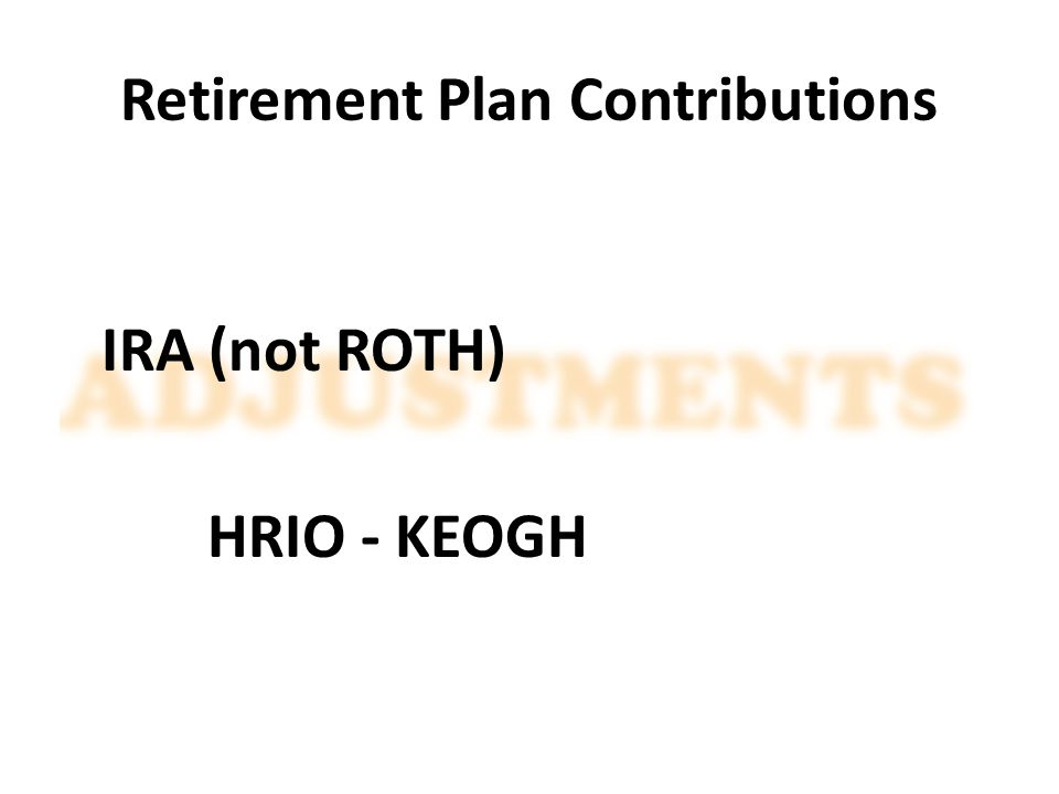 Retirement Plan Contributions IRA (not ROTH) HRIO - KEOGH