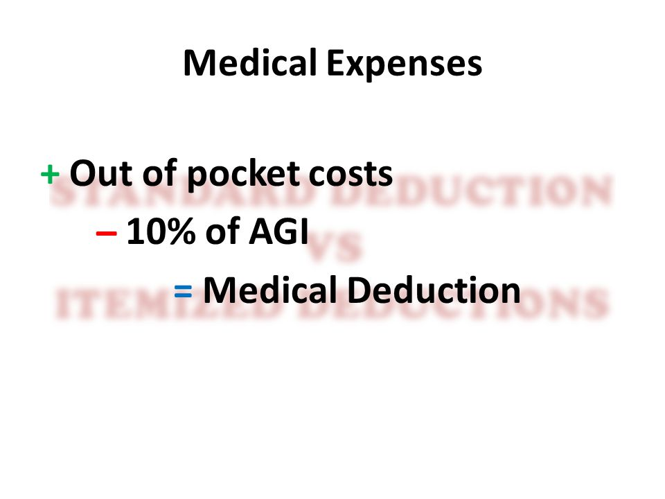 Medical Expenses + Out of pocket costs ̶ 10% of AGI = Medical Deduction
