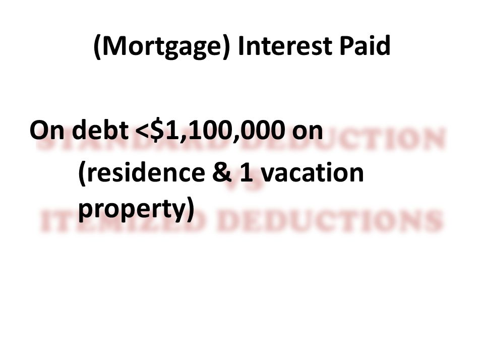 (Mortgage) Interest Paid On debt <$1,100,000 on (residence & 1 vacation property)