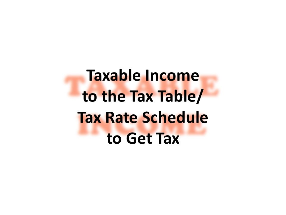 Taxable Income to the Tax Table/ Tax Rate Schedule to Get Tax