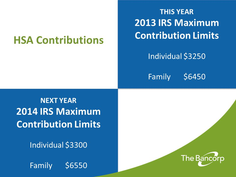 IRS Contribution Rules  HSA Contributions are not subject to income tax  Contributions can be made by anyone  You can change your contributions at any time throughout the year  Contributions in excess of the allowable limits must be withdrawn (Otherwise incur a 6% excise tax and claim as income)  Eligible individuals aged 55 or older may contribute catch-up contributions of $1000.00 each year until enrolling in Medicare (one catch-up per account)