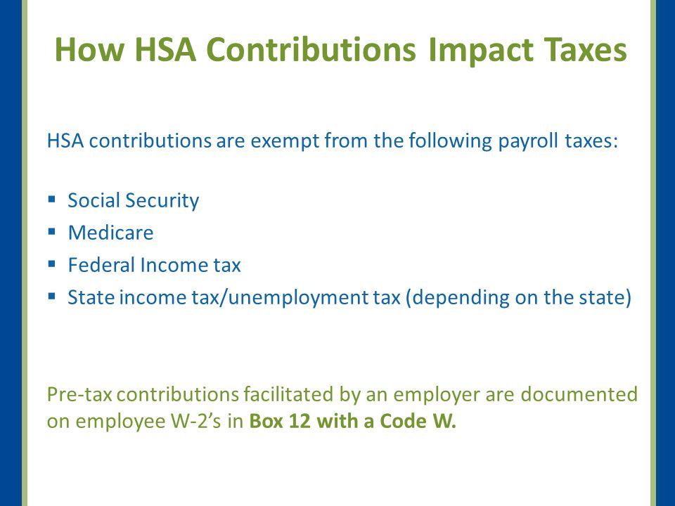 Tax Saving Estimates Insurance Coverage Tax Bracket Annual Tax Savings by Contribution Maximum Family Contribution Plus 1K Catch-up $1,200$2,000$3,250$4,250 Single Coverage 15%$180$300$488$638 25%$300$500$813$1,063 28%$336$560$910$1,190 33%$396$660$1,073$1,403 $2,000$4,000$6,450$7,150 Family Coverage 15%$300$600$968$1,073 25%$500$1,000$1,613$1,788 28%$560$1,120$1,806$2,002 33%$660$1,320$2,129$2,360 Tax BracketSingle FilingMarried Salary Range 15%$8,026 - 32,550$16,051 - 65,100 25%$32,551 - 78,850$65,101 - 131,450 28%$78,851 - 164,550$131,451 - 200,300 33%$164,551 - 357,700$200,301 - 357,700